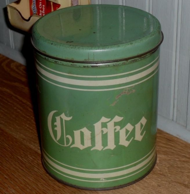 1930s Tin Green & Cream Coffee Pantry Box