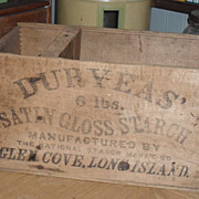 SALE Wooden DURYEAS Box - Crate Satin Gloss Starch - Long Island