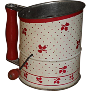 SALE 1940s Tin Flour Sifter - Red & White Tea Leaf Design