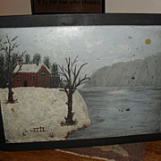 SALE 1890s School House Slate / Blackboard - Snow Scene Painting