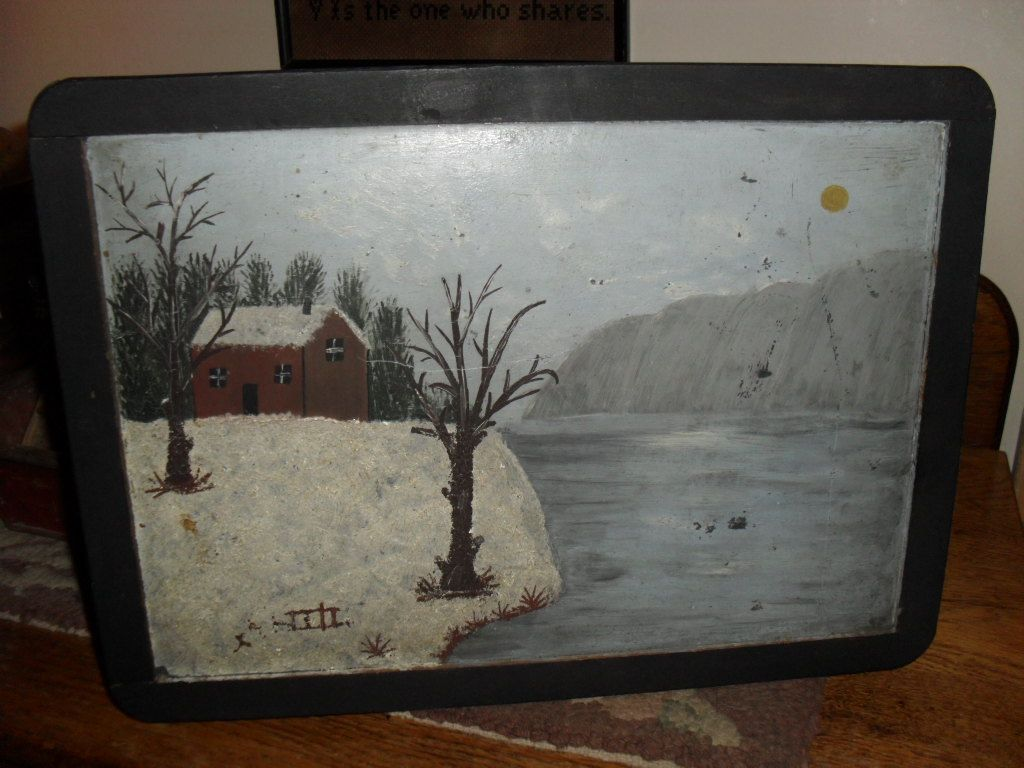 1890s School House Slate / Blackboard - Snow Scene Painting