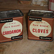 2  Fairway Foods Spice Tins - St. Paul & Fargo - c. 1940
