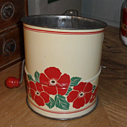 SALE 1940s Tin Flour Sifter - Red & Cream with Poppies