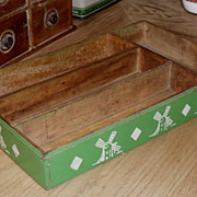 SALE 1930s Green Wooden Knife - Utensil Tray