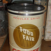 SALE Food Fair Coffee Tin - c. 1940 2 lb. Keywind