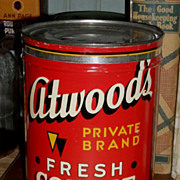 SALE Atwood's Coffee Tin - c. 1940 - 2 lb.