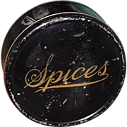 SALE Tin Spice Box - 6 Small Tins & Nutmeg Grater - c. 1900