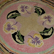 Finely Hooked Table or Chair Mat - Pansies & Leaves Inset