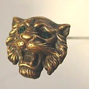 Brass Tiger Ladies Hat Pin with Green Rhinestone Eyes