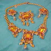LILIEN� Orange Czech Glass Full Parure