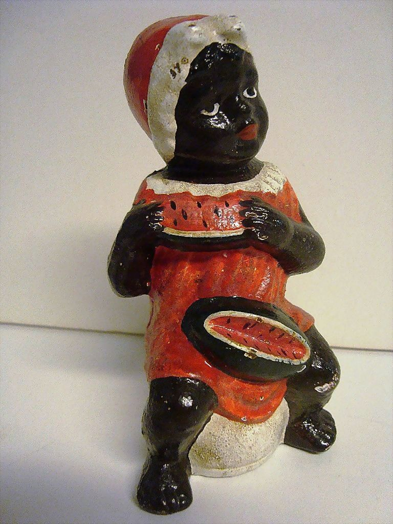 Black Americana Girl with Watermelon Cast Still Bank