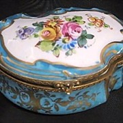 Large China Scallop Porcelain Dresser/ Vanity Box Marked S�vres