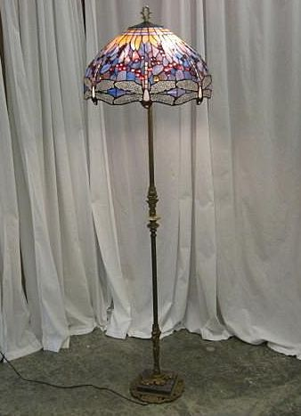 Dragonfly Stain Glass Shade Old Brass Floor Lamp From Rlreproshop On Ruby Lane