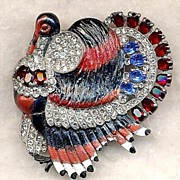 Rhinestone Enamel Holiday Theme Turkey Brooch Signed Staret