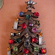 Christmas Tree 3 Candle Brooch marked Weiss