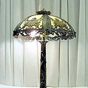 Tiffany Style Slag Glass Table Lamp With Brass Base