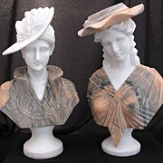 Pair Marble Busts Young Victorian Women Wearing Hats