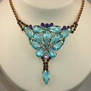 Blue Rhinestone Husar D Necklace Signed