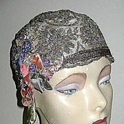 Metallic Lame Ribbon Art Embroidered Cloche Hat with Floral Trim