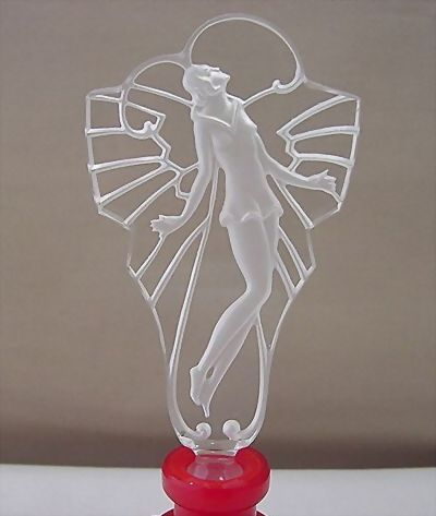 Czech Art Deco Style Red Perfume Bottle with Etched Lady Stopper