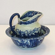 Pitcher and Bowl � Blue and White � Iron Stone