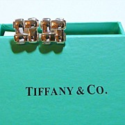 Woven Silver Tiffany Marked Cuff Links