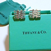 Silver Tiffany Marked Grid Design Cuff Links with Box