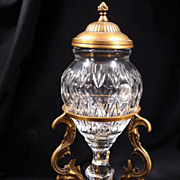 Cut Crystal Glass Urn with Brass Lid and Stand