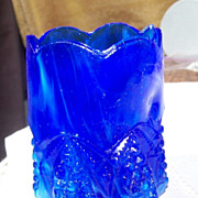 Cobalt Blue Slag Glass Tooth Pick Holder Button Arches Pattern