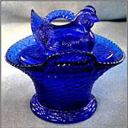 Cobalt Blue Glass Hen on Double Handled Basket Dish