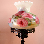 Hand Painted Gone With The Wind Glass Lamp Roses