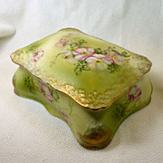 Hand Painted Vanity Porcelain Box Nippon
