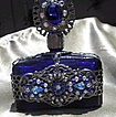 Cobalt Blue Perfume Bottle with Filigree Design