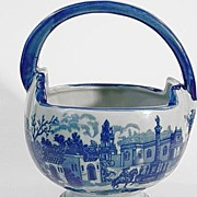 Victoria Ironstone Basket With Blue Village Scene
