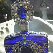 Jeweled Filigree Heart Czech Cobalt Blue Perfume Bottle