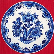 Dark Blue Underglaze Charger or Plate, Signed, Unknown