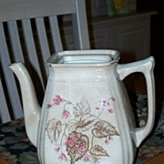 Pre-1897, Royal Ironstone China, Alfred Meakin Pottery Teapot, Brown Transfer-ware, Leaf Patte