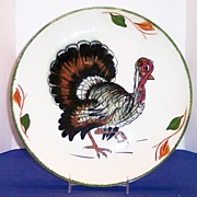 Blue Ridge Southern Potteries Handpainted Thanksgiving Turkey Plate