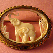 Ivory-Like Mother Elephant & Baby Brooch: France: Dpos