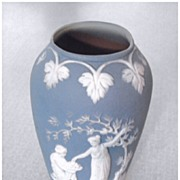 Jasperware (?) little blue vase