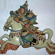 Antique Oriental Warrior & Horse Plaque