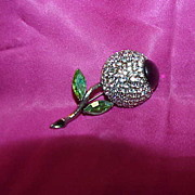 WEISS signed Rhinestone & Cabochon Flower Brooch