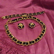 "Classic ""Joan Rivers"" Black Ribbon Necklace, Watch and Earrings"
