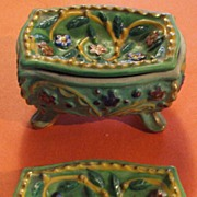 Beautiful Japan Painted Footed Casket with two Trays