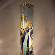 "Lovely 9 1/2"" Tall Cylindrical Porcelain Vase Hand Painted with Irises"