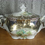 Fancy German Porcelain Cracker or Biscuit Jar. Lots of Gold!!