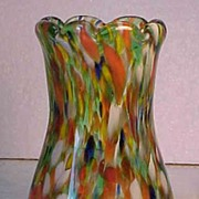 Blown Spatter Glass End of Day Vase Signed S