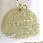 Beautiful Hand-Carved 22K Gold Jade? Pendant