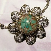 Stone Chips under Glass Silver Filigree Pendant