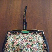 Vintage Embroidered Purse with Flowers & Jade(?) Clasp